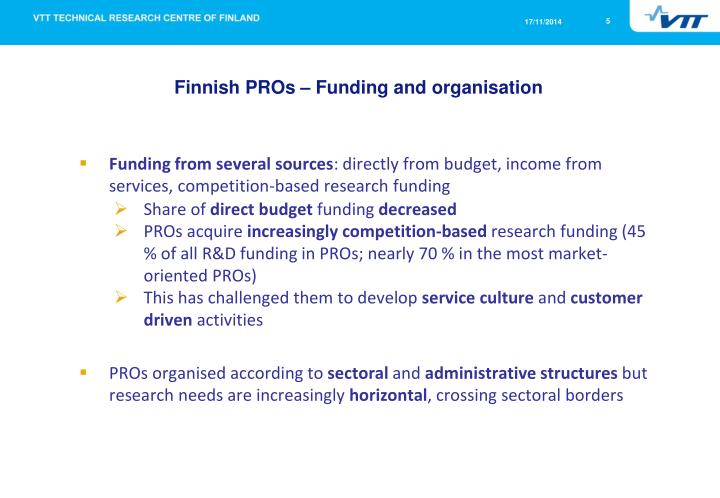 Finnish PROs – Funding and organisation
