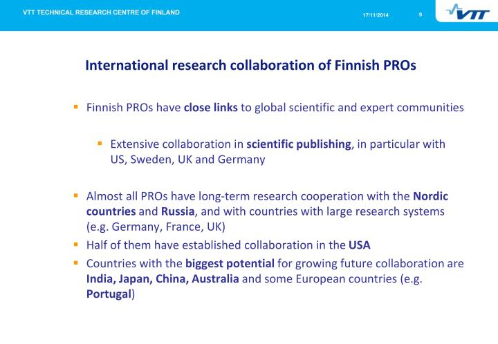 International research collaboration of Finnish PROs
