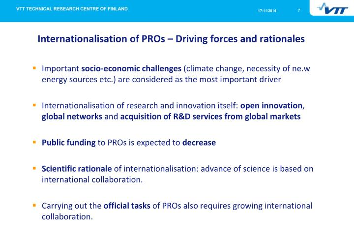 Internationalisation of PROs – Driving forces and rationales