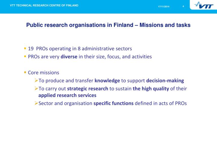Public research organisations in Finland – Missions and tasks