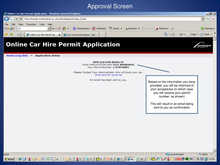 Approval Screen