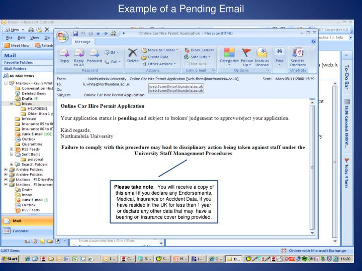 Example of a Pending Email