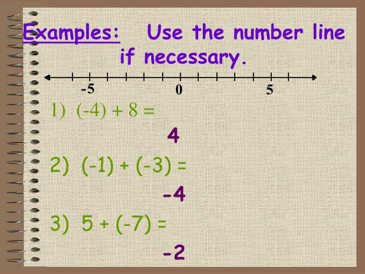 1)  (-4) + 8 =