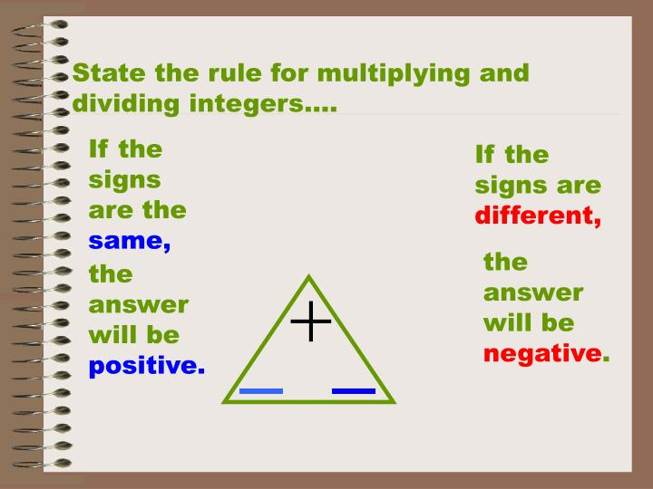State the rule for multiplying and dividing integers….
