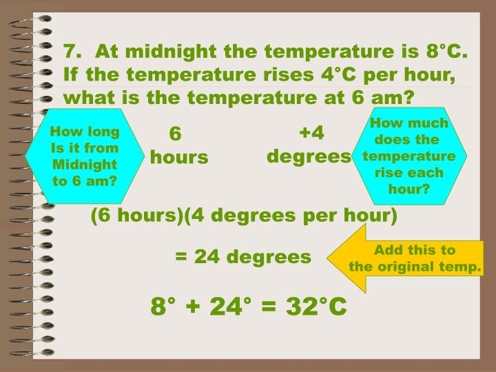7.  At midnight the temperature is 8°C.  If the temperature rises 4°C per hour, what is the temperature at 6 am?