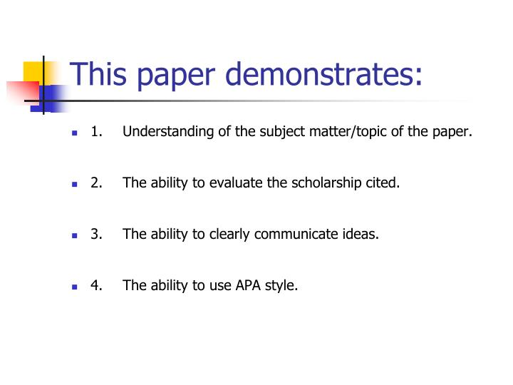 This paper demonstrates: