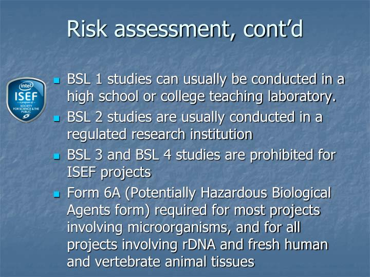 Risk assessment, cont'd
