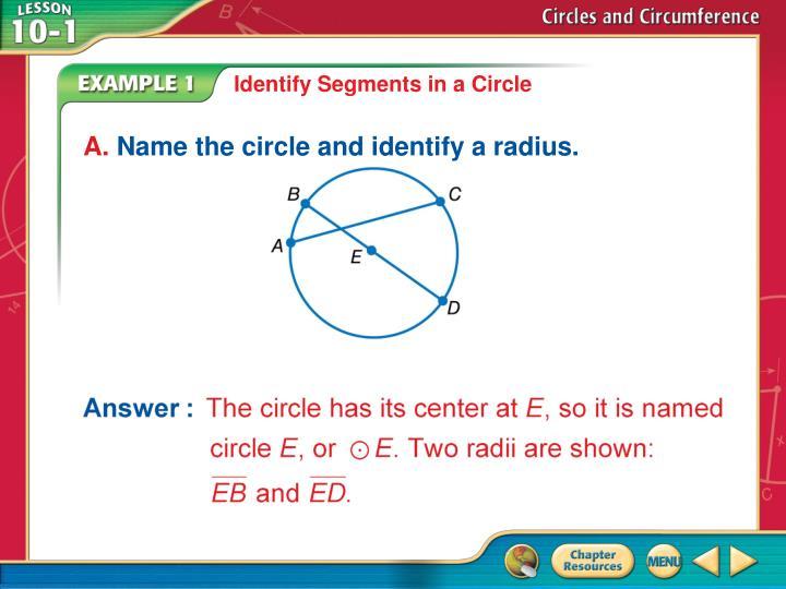 Identify Segments in a Circle