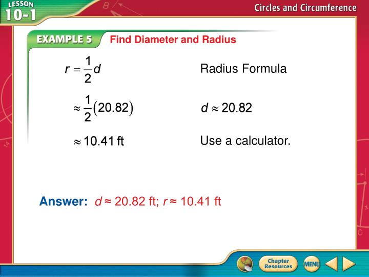 Find Diameter and Radius