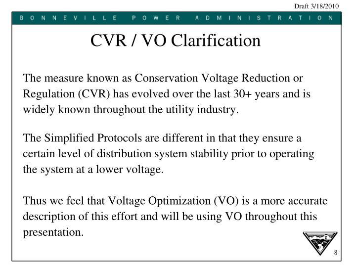 CVR / VO Clarification