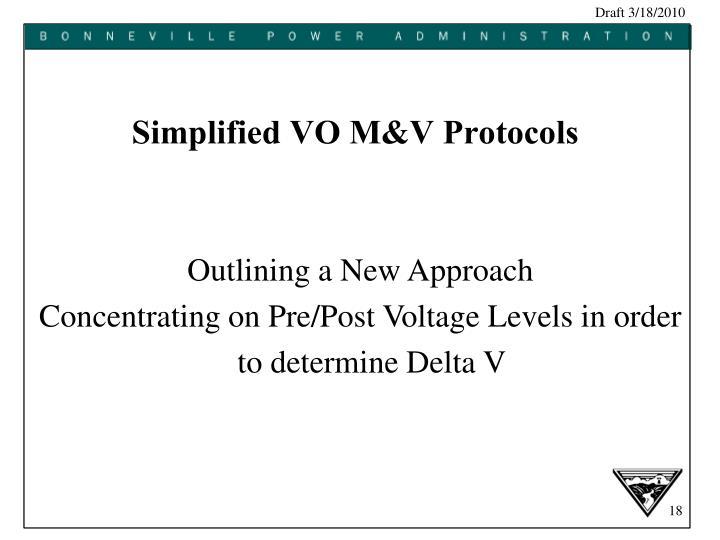 Simplified VO M&V Protocols
