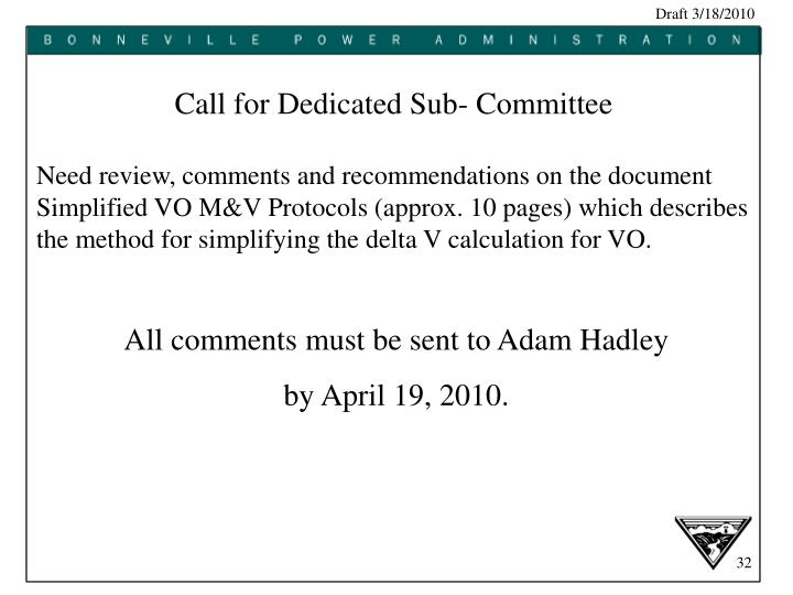 Call for Dedicated Sub- Committee