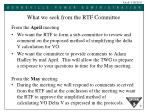 what we seek from the rtf committee