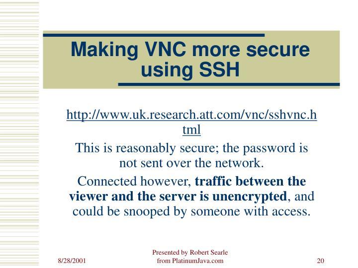 Making VNC more secure using SSH