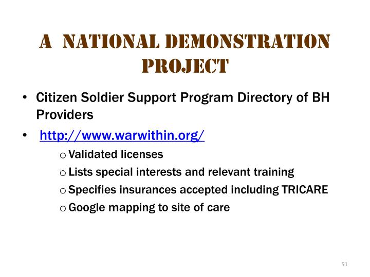 A  National Demonstration Project