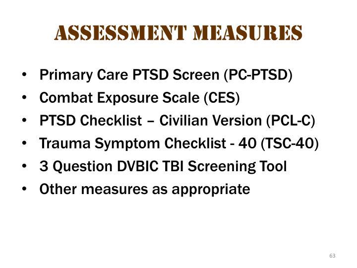 Assessment measures