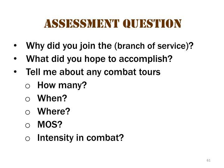Assessment questions 1