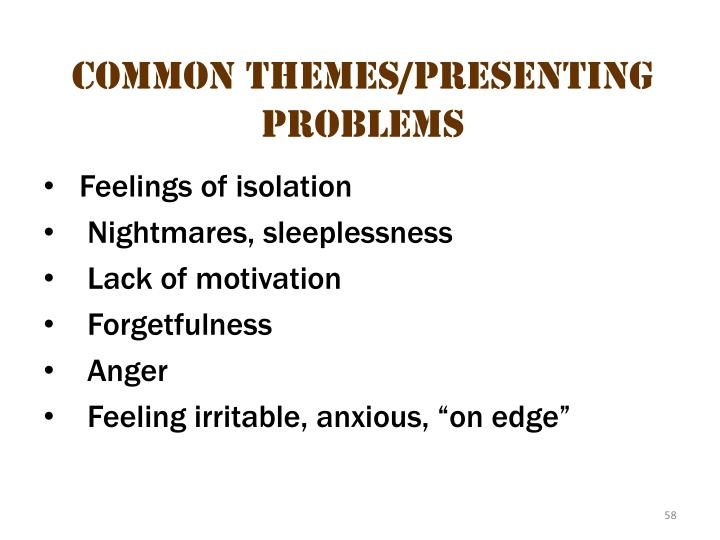 Common themes/presenting problems 2