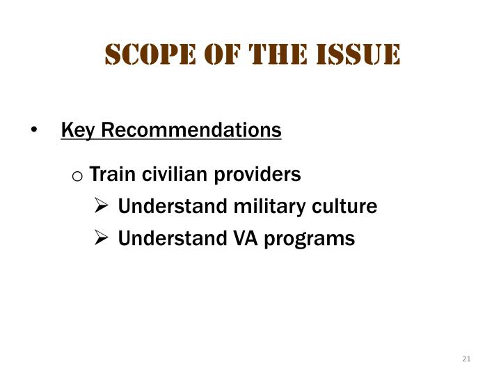 Scope of the issue 11