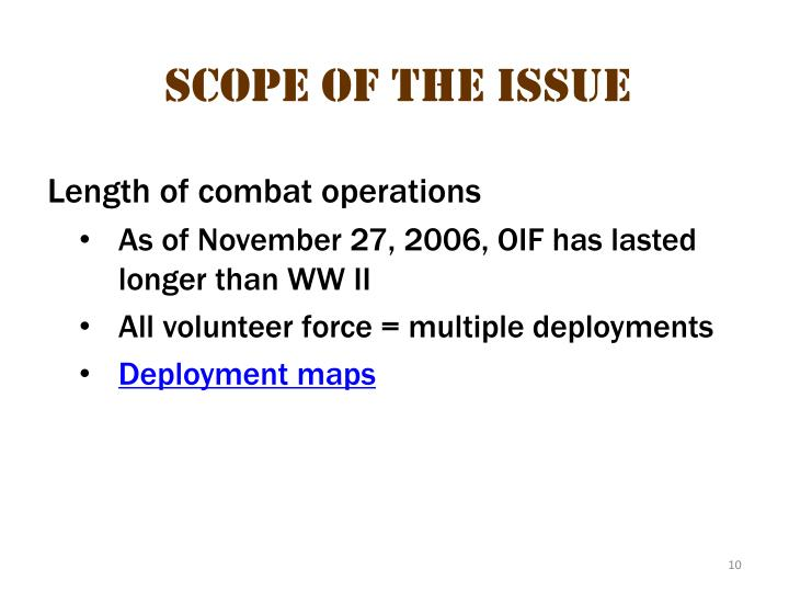 Scope of the issue 2