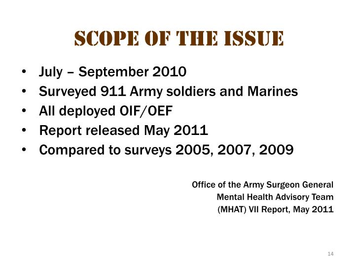 Scope of the Issue 5