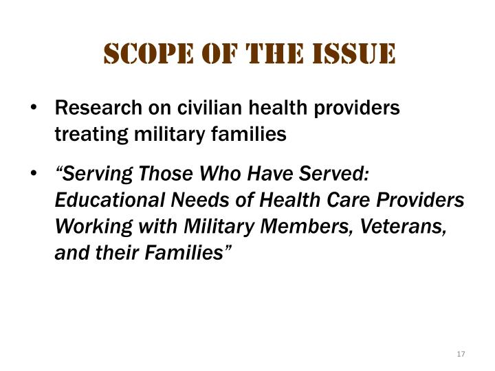 Scope of the issue 7