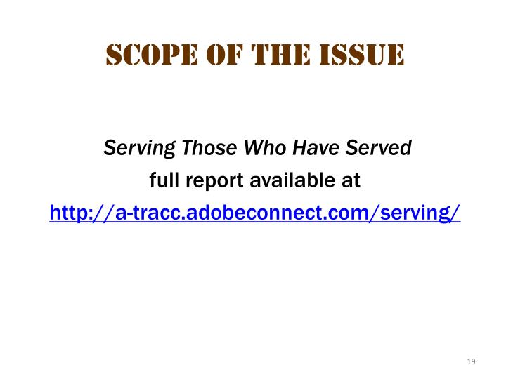 Scope of the issue 9