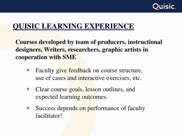 QUISIC LEARNING EXPERIENCE