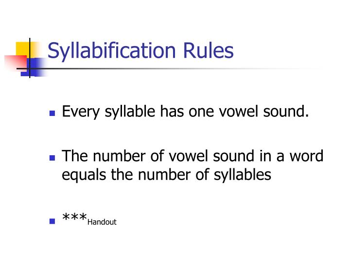 Syllabification Rules