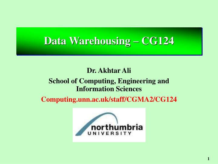 Data warehousing cg124