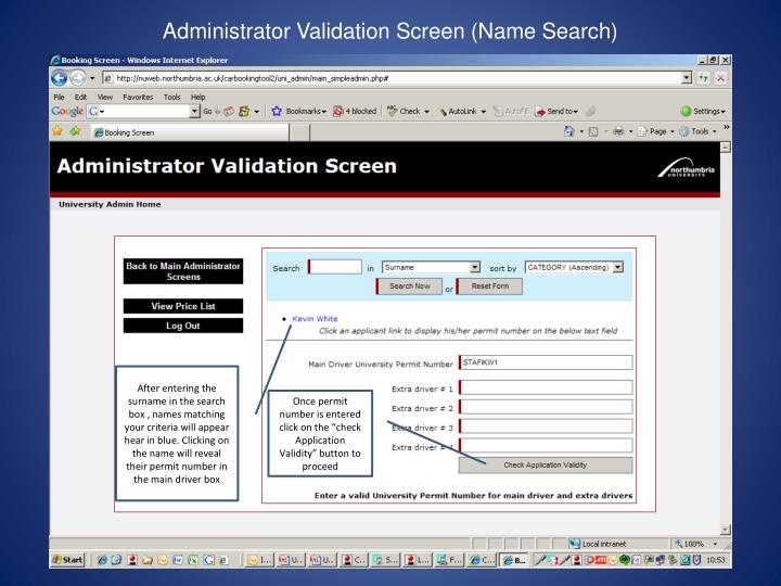 Administrator Validation Screen (Name Search)