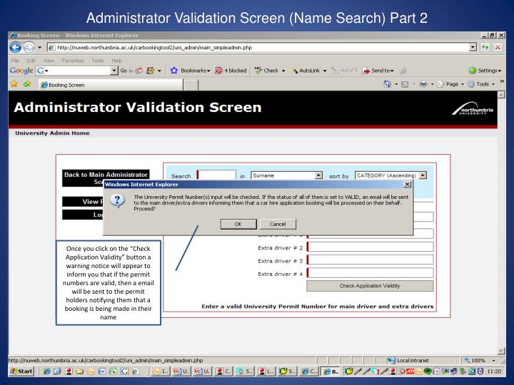 Administrator Validation Screen (Name Search) Part 2