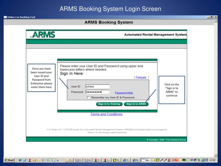 ARMS Booking System Login Screen