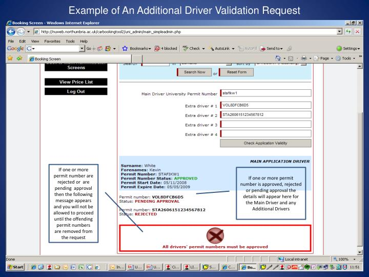 Example of An Additional Driver Validation Request