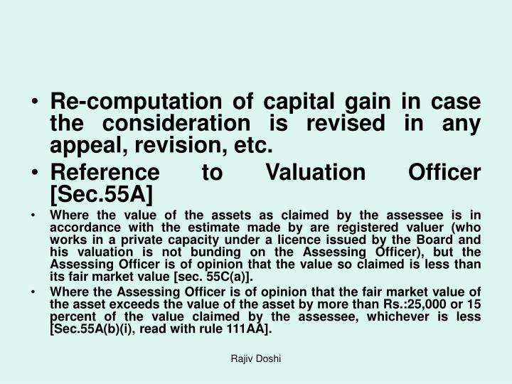 Re-computation of capital gain in case the consideration is revised in any appeal, revision, etc.