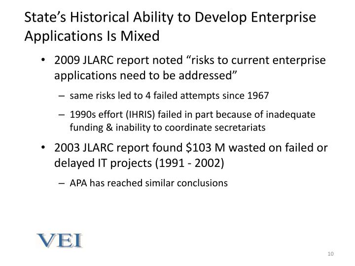 State's Historical Ability to Develop Enterprise Applications Is Mixed