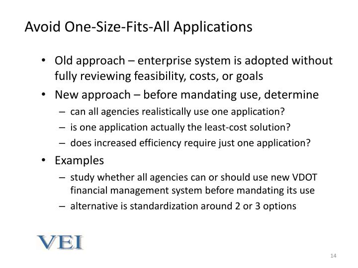 Avoid One-Size-Fits-All Applications