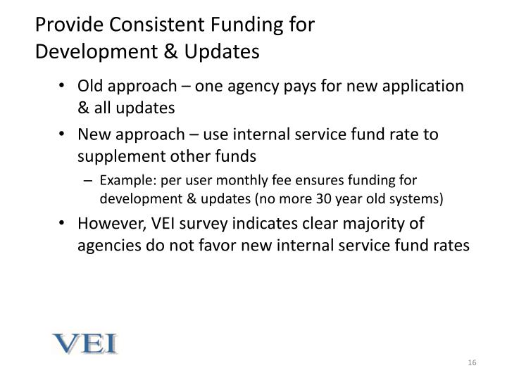 Provide Consistent Funding for