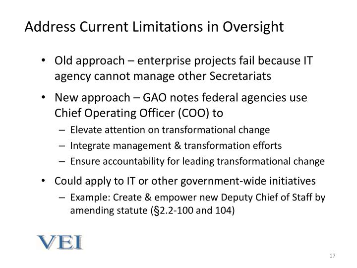 Address Current Limitations in Oversight