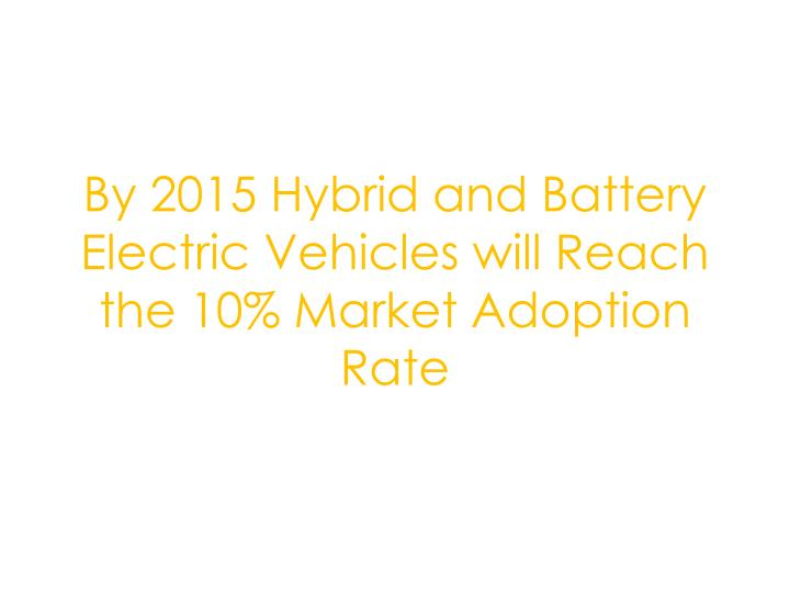 By 2015 Hybrid and Battery Electric Vehicles will Reach the 10% Market Adoption Rate