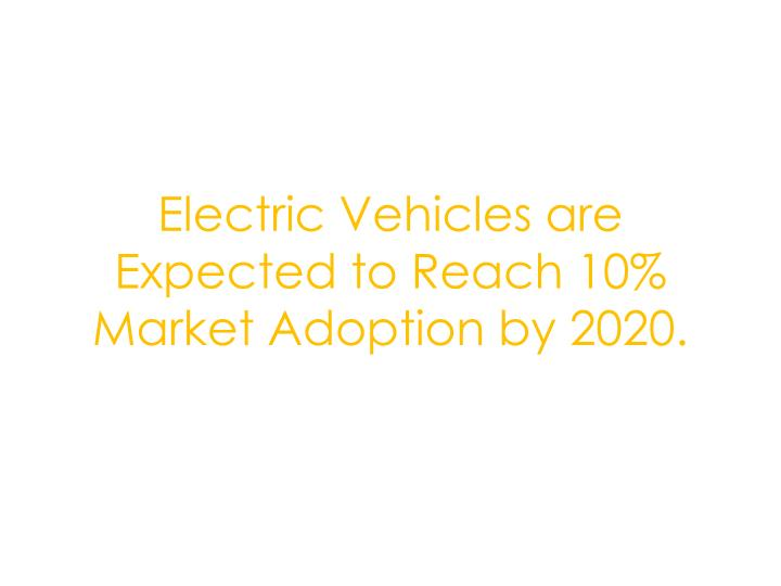 Electric Vehicles are Expected to Reach 10% Market Adoption by 2020.