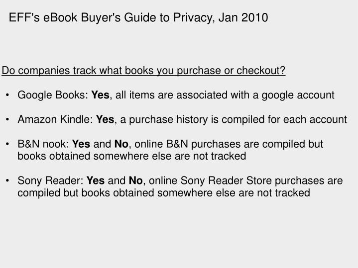 EFF's eBook Buyer's Guide to Privacy, Jan 2010
