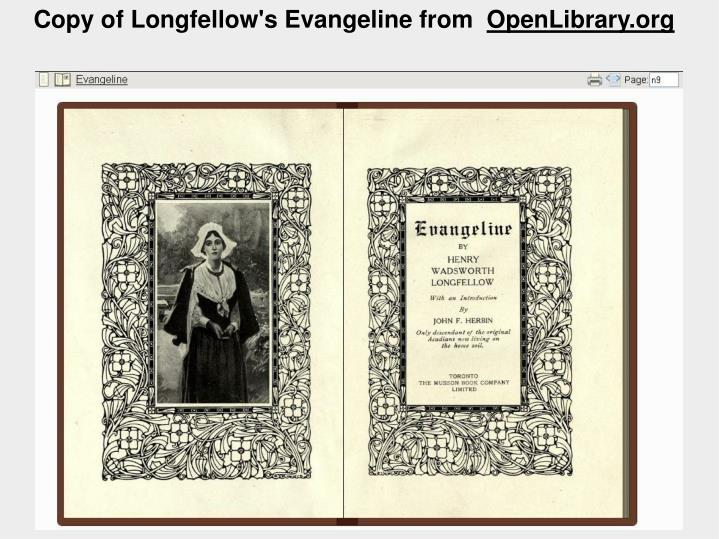 Copy of Longfellow's Evangeline from