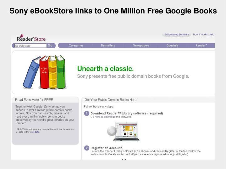 Sony eBookStore links to One Million Free Google Books