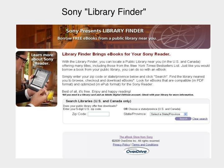 """Sony """"Library Finder"""""""