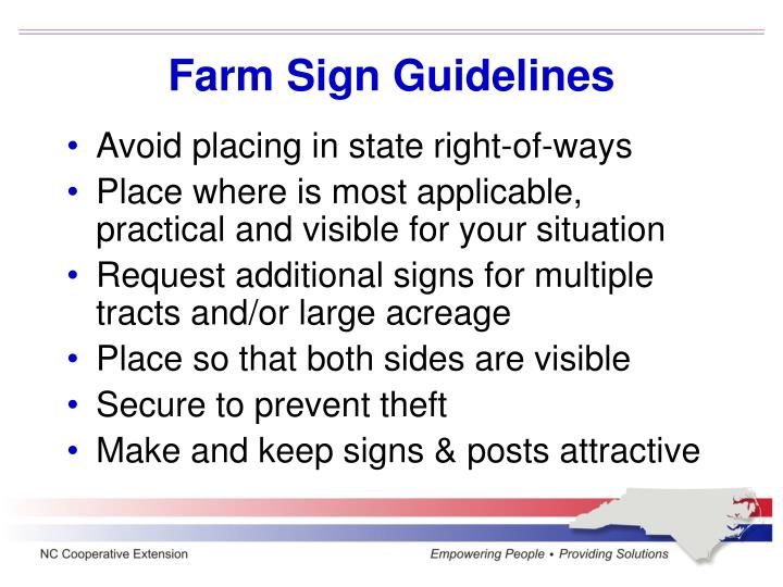 Farm Sign Guidelines