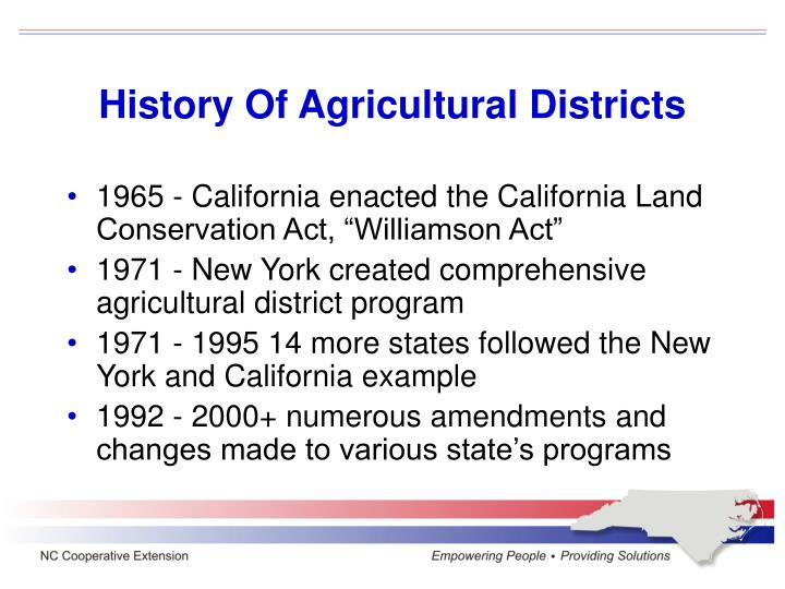 History of agricultural districts