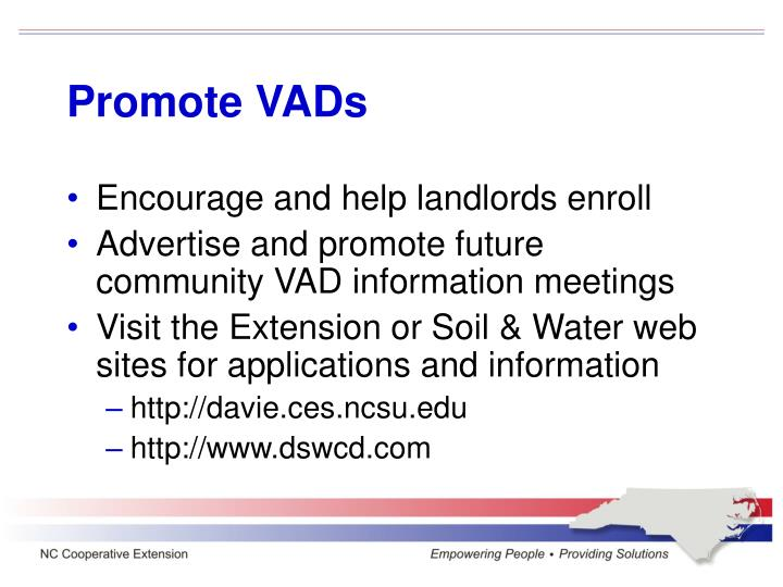 Promote VADs