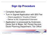 sign up procedure