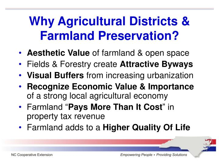 Why Agricultural Districts & Farmland Preservation?